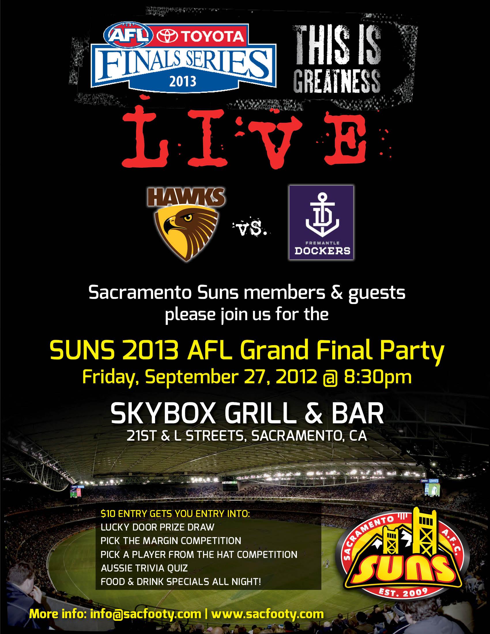 Sacramento Afl Grand Final Party